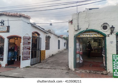 SALTA, ARGENTINA - APRIL 8, 2015: Old white houses in the city center of Salta, Argentina.