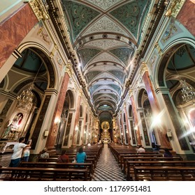 SALTA, ARGENTINA - APRIL 9, 2015: Interior of Cathedral Basilica and Sanctuary of the Lord and the Virgin of the Miracle in Salta, Argentina.