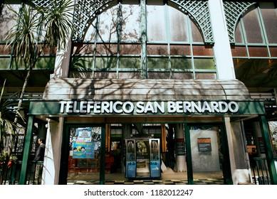 Salta, Salta, Argentina, Aug. 4, 2017: Salta Cable Car Station of Transport to San Bernardo Hill w. San Martin Park Aerial view n Salta Cityscape Famous Tourism Skyline Northern Argentina Observatory