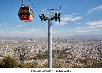 Salta, Salta, Argentina, Aug. 4, 2017: Salta Cable Car Station of Transport to San Bernardo Hill w. San Martin Park Aerial view n Salta Cityscape Famous Tourism Skyline Northern Argentina Observatory