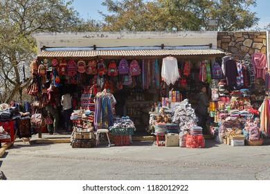Salta, Salta, Argentina, Aug. 4, 2017: Salta Argentine Typical Store at San Bernardo Hill part of San Martin Park w. Aerial view Attraction Salta Cityscape Tourism Northern Argentine