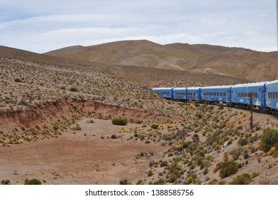 SALTA, ARGENTINA - JULY 20, 2019: Train to the clouds in Salta Province, Argentina. The train olso called Tren de las Nubes is the fifth highest railway in the world.