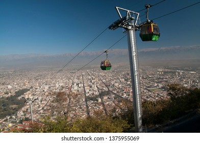 Salta, Argentina. July 8, 2010. The touristic cable car is seen in this view of the City of Salta from Cerro San Bernardo.