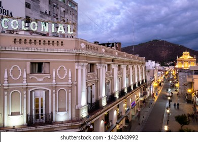 SALTA, ARGENTINA - OCTOBER 2018: Night in Salta with Colonial hotel and Church of Saint Francis.