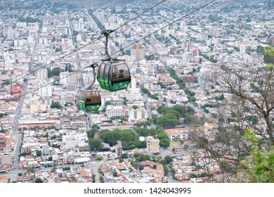 SALTA, ARGENTINA - OCTOBER 2018: View over Salta from Cerro San Bernardo. You see the cableway and the city in the background