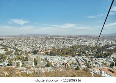 Salta Cable Car Transportation to San Bernardo Hill w. San Martin Park Aerial view Salta Cityscape Famous Tourism Skyline Attraction Northern Argentina