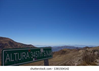 salta/argentina - sep.22.18 - 3457 meters above sea level - plaque in route 33, salta, argentina. place called capilla san rafael.