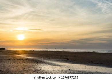 Saltburn beach at sunset.  Looking towards Marske.