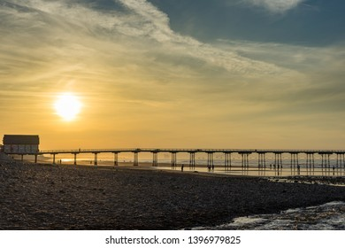 Saltburn, Cleveland / England May 13th 2019 : Saltburn pier at sunset.  This pier has just recently celebrated its 150th year.