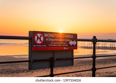 Saltburn, Cleveland / England - May 5th 2019. Sign, notice. Dogs banned from Saltburn beach during the summer.