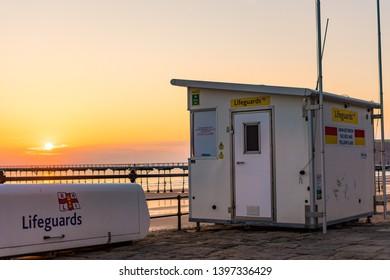 Saltburn, Cleveland / England - May 5th 2019. Lifeguard hut on Saltburn beach. Sunrise view.