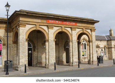 SALTBURN, THE OLD RAILWAY STATION ENTRANCE, MARCH 25, 2015 The old former main entrance to Saltburn railway station that was opened in 1861 by The Stockton and Darlington Railway
