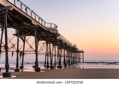 Saltburn pier at sunrise. Saltburn is a small seaside town located on the north east coast of England.