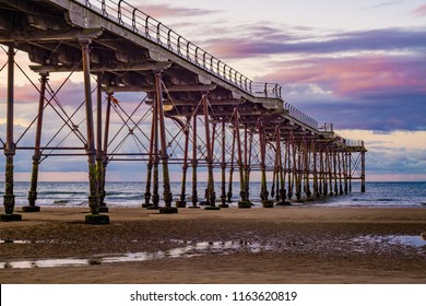 Saltburn pier at sunset. Saltburn is a seaside town on the north east coast of England.