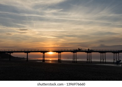 Saltburn pier at sunset.  This pier has just recently celebrated its 150th year.