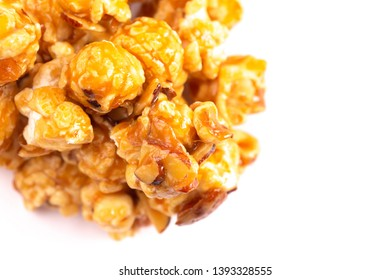 Salted Caramel Almond Flavored Popcorn on a White Background