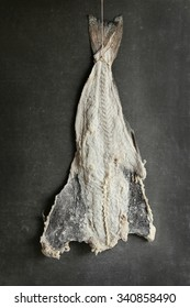 Salted cod fish hanging to dry