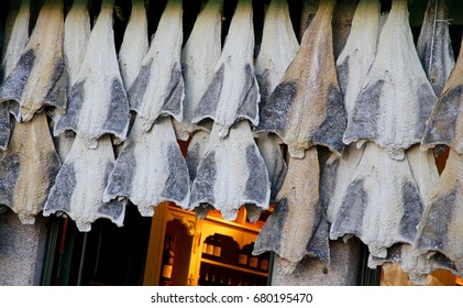 Salted cod hanging outside a shop in Porto, Portugal.