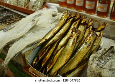 Salted fish in the covered market of Chania, Crete, Greece