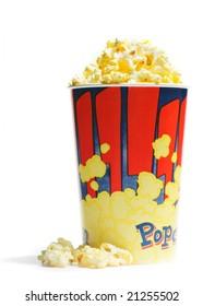 Salted fresh popcorn isolated on white