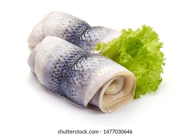Salted herring rollmops, isolated on white background.