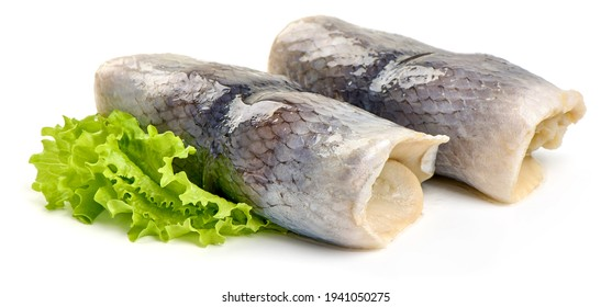 Salted herring rollmops, isolated on white background. High resolution image.