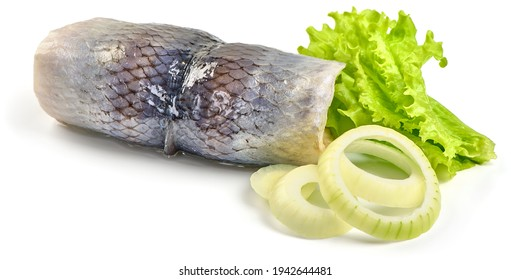 Salted herring rollmops, isolated on white background. High resolution image