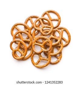 Salted mini pretzels snack isolated on white background.