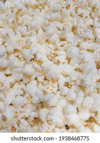 Salted Popcorn background view from above. Top view pop corn.
