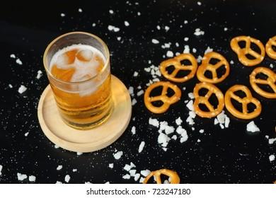Salted pretzels with beer