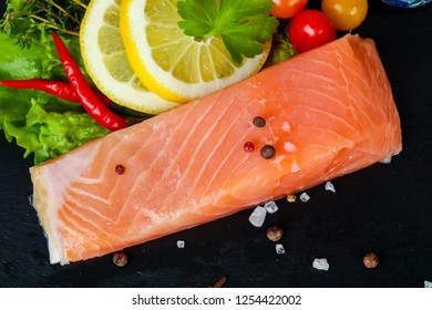 Salted salmon fillet with spices