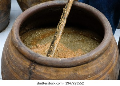 salted soybean paste fermented in jar. soy production