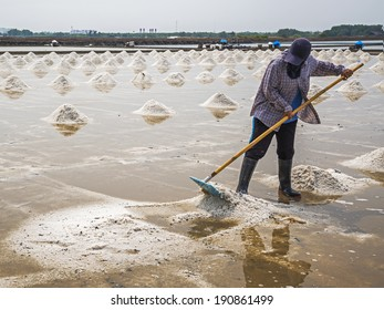 Salted worker in salt field