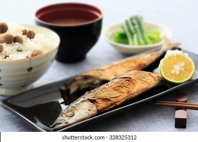 Salt-grilled Pacific Saury
