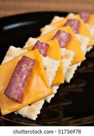 Saltine Crackers, Genoa Salami and American Cheese
