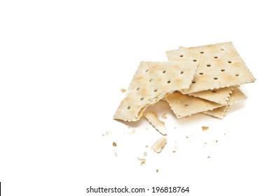 saltine crackers isolated on white background
