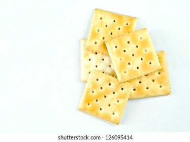 saltine crackers On a white background.