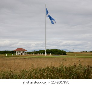 The saltire flies proudly over the Trump Turnberry Golf Course, Turnberry, Ayrshire, Scotland, United Kingdom on Tuesday, 24th, July, 2018