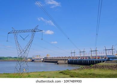 SALTO, URUGUAY, JANUARY 06, 2018: Hydro electric electricity power plant, Rio Uruguay Embalse Salto Grande, Salto, Uruguay Argentina South America