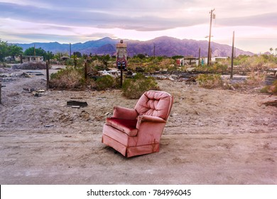 Salton City, California, USA - April 6, 2017: Old armchair in Salton City, California, United States. American ghost town.