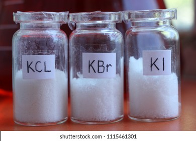Salts of potassium halides: chloride, iodide bromide. These substances are used in chemistry as reagents and in medecine as medicines.