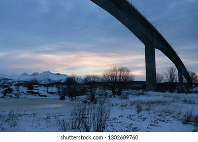 SALTSTRAUMEN, NORDLAND COUNTY / NORWAY - JANUARY 26 2019: Bridge over whirlpools of the maelstrom of Saltstraumen