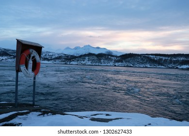 SALTSTRAUMEN, NORDLAND COUNTY / NORWAY - JANUARY 26 2019: Whirlpools of the maelstrom of Saltstraumen, Nordland, Norway