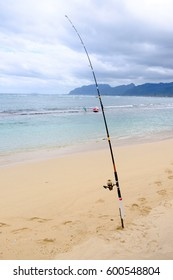 Saltwater fishing on the island of Oahu in Hawaii for bonefish just past the reef in the Pacific Ocean.