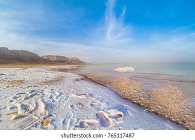 Salty coast of the Dead Sea, Israel.