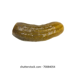salty cucumber on white background
