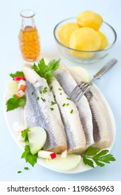 Salty herring fillet