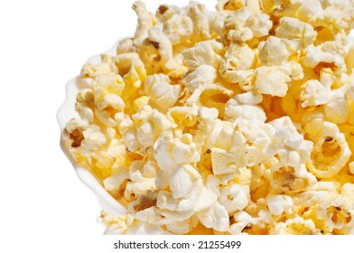 Salty popcorn in plate with copy space