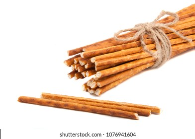 Salty sticks bread snack isolated on the white