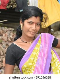 SALUNKWADI, INDIA - July 11, 2015: girl closeup in rural village Salunkwadi, Ambajogai, Beed, Maharashtra, India, South East Asia.